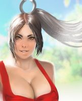 mai shiranui beach closeup by megaween