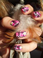 Pink flower check nsilart by Kythana