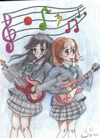 K-On! Yui and Mio by LesFromages