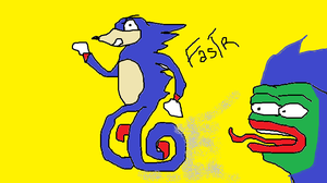 SANIC HIGH SPEED ART FT PEPE MEME FROG by JohnScena