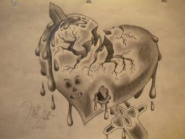 A Heart, Cracked and Bleeding by jesus-at-art