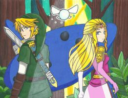 Link and Zelda by arttoinfinity