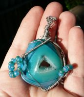 Blue and green Agate Druzy Geode Wire Wrap by Eviecats