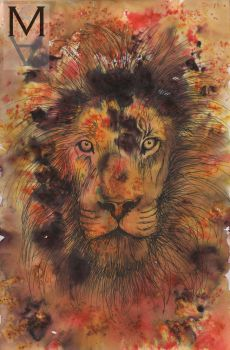 Lion (Ink Powder and Pen) #2 by sarah-mca-art