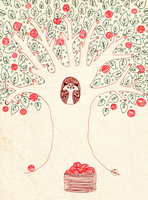 Owlys and apples and a tree. by Landale