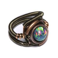 steampunk ring Lab Opal 2 by CatherinetteRings