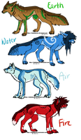 ATLA/LOK Themed Wolf Adoptables by splitAdopts