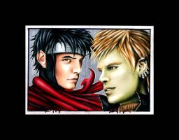 Wiccan and Hulkling Sketchcard by AstroVisionary