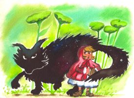 Little red riding hood and the wolf. by Anorya