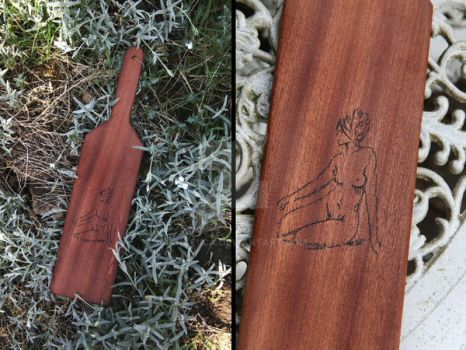 Seated Nude Hand Engraved on a Wooden Paddle by Ange1ica