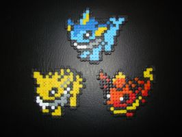 Vaporeon ~ Jolteon ~ Flareon - Pokemon Hama Beads by Nidoran4886