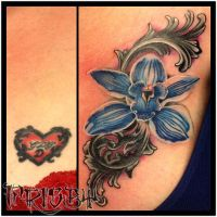 Orchid Coverup by CandiceTheTattooist