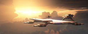 Captain Scarlet: Cloudbase at Sunset by Chrisofedf