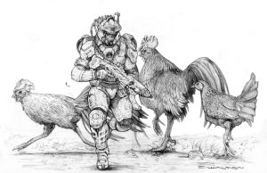 Living Armored Roughneck startling Gian Chickens by ChuckWalton