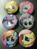 Mane 6 Buttons by Grennadder