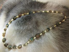 Completed: Green Stone and Bone Necklace 2 by SadiesAccessories