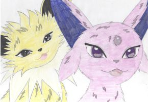 Espeon and Jolteon by katebushfanatic