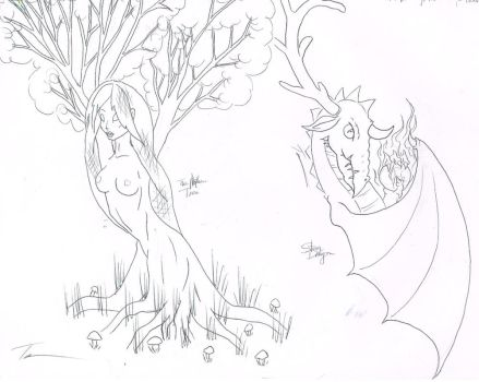 Stagon and Mother tree by ravencry