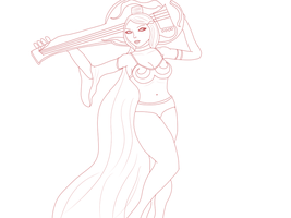 LINEART of a female holding a guitar by gtstyling32