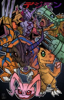 agumon digivolution print by equalizer100