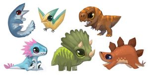 Dinosaur Buttons and Stickers! by ALRadeck