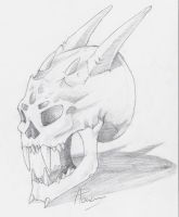 Demonic skull sketch by RogueLiger