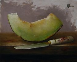 Melon slice and knife by marcheba