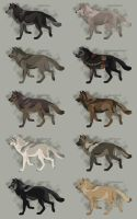 Semi-Realistic Wolf Adoptables - CLOSED by Therbis
