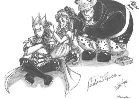 Ansem SoD, Sonia and Kuma brading each others hair by UchaNekome
