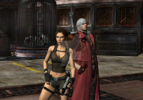 Dante X Lara Croft 82 by candycanecroft