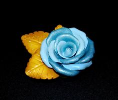 Baby Blue/Glittery Blue Rose with Golden leaves by Iamenimlusus