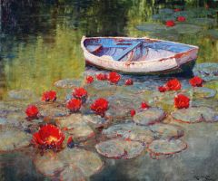 Alan Wolton - The Dinghy by OilPaintersofAmerica