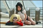 Harley and Zatanna Hanging out by GagaAlienQueen