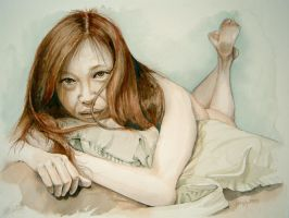 Qian 14, Pillow Hugging by Nudessence