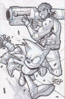 Sonic and Snake Commission by ZipDraw