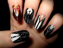 Shinigami suit nails by ColorPixie