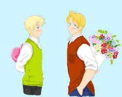 APH USUK LineArt in Colour by EroEmo-chan