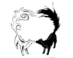 Yin Yang Wolfs Tattoo by ArafelShadow