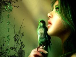Green Bird By Georgio by Iguanamar