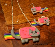 Nyan cat jewelry set by shimauuuma