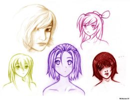 Girl Sketches Complilation II by LightningGuy