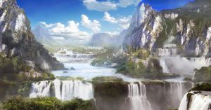 Waterfall Valley By Kingcloud-d4lbtsj by lana-chuh