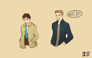 Destiel high five by naomibei