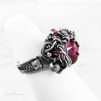 Ruby Fantasy wire-wrapped ring I by AnnaMroczek