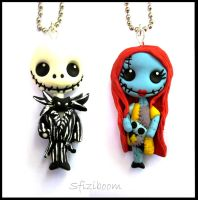 Jack Skeletron and  Sally Pendants by Sfiziboom