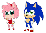 Chibi Amy and Sonic by Mitzy-Chan