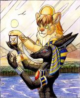 Sekmet_and_Anubis by Rait-StormDragoness