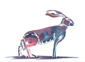 Purple and Blue Hare by SuicideNeil