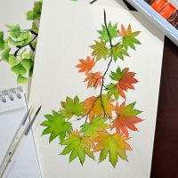 Watercolor maple branch by Rustamova