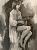 Figure with Mandolin by wegs